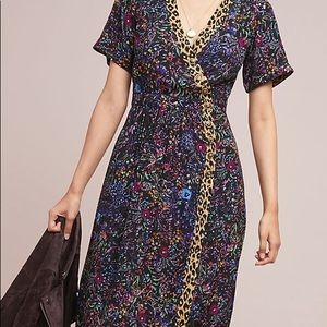 new Anthropologie leopard & floral button dress